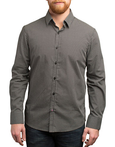 English Laundry Micro Dots Print Cotton Shirt-BLACK-Large