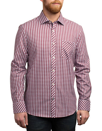 English Laundry Geometric Plaid Shirt-RED-Small