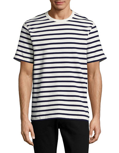 Nn07 Basic Striped Crew Neck T-Shirt-WHITE/NAVY-Large