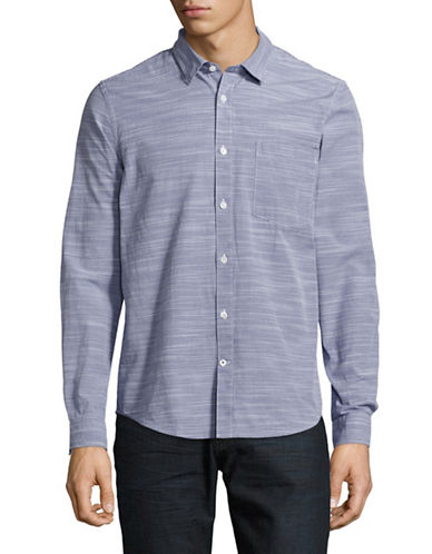 Nn07 Slim Fit Striped Sport Shirt-BLUE-Large
