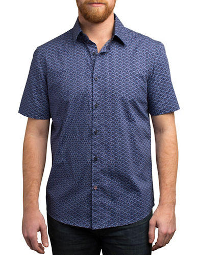 English Laundry Fan and Dot Print Shirt-BLUE-Small
