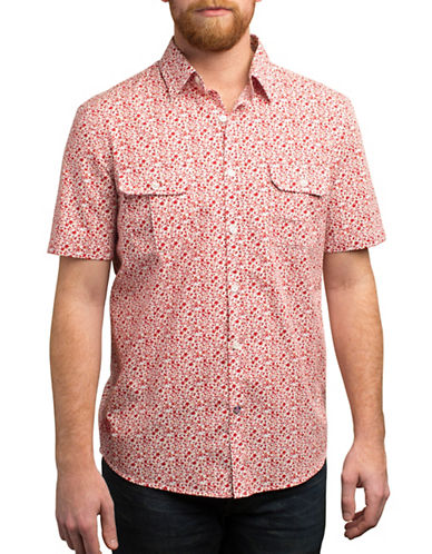 English Laundry Floral and Vines Print Shirt-RED-Small