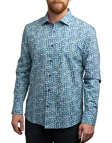 English Laundry Faded Floral Print Shirt-BLUE-Medium