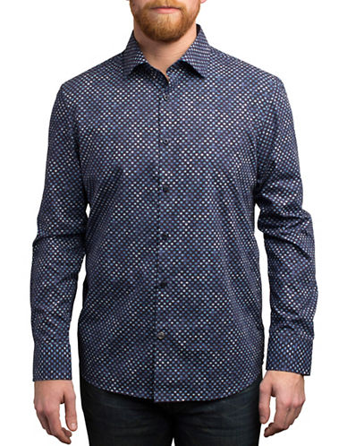 English Laundry Micro Aztec Print Cotton Shirt-BLUE-Small