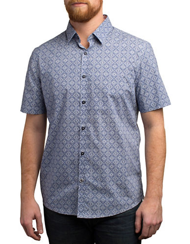 English Laundry Bandana Printed Regular Fit Sport Shirt-BLUE-Small