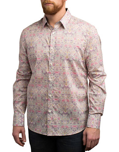 English Laundry Spring Floral Print Shirt-PURPLE-Large