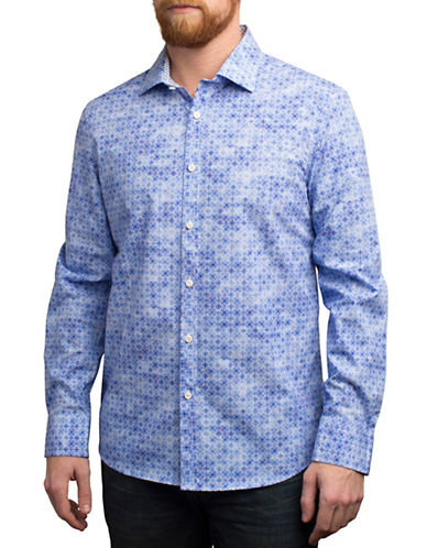 English Laundry Mosaic Printed Regular Fit Sport Shirt-BLUE-Small