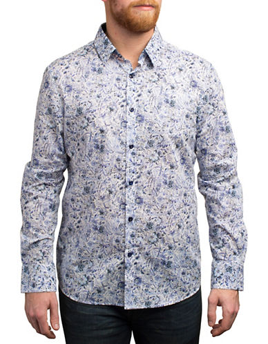 English Laundry Ink Sketch Print Long Sleeve Shirt-BLUE-Medium