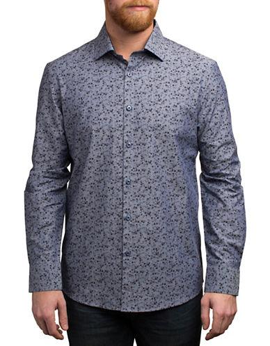 English Laundry Floral Print Cotton Shirt-BLUE-Medium