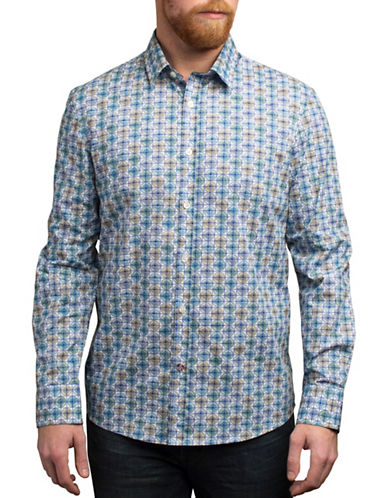 English Laundry Circle Grid Regular Fit Sport Shirt-BLUE-X-Large