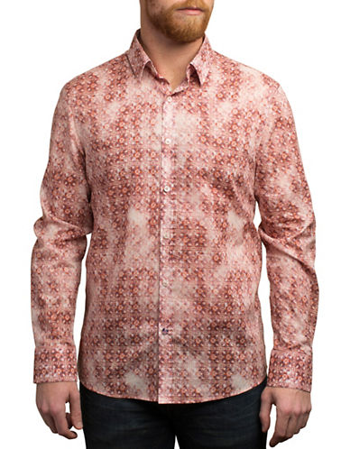 English Laundry Faded Geometric Print Cotton Shirt-BROWN-X-Large