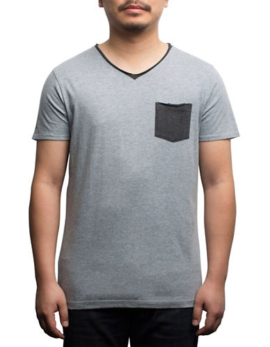 Rogue State Cotton Contrast Pocket Tee-GREY-Large