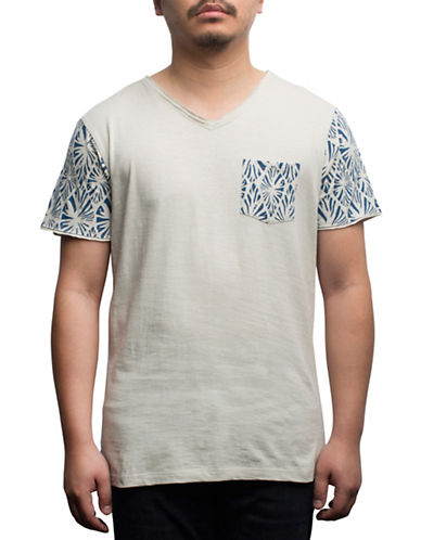 Rogue State Cotton Graphic-Contrast Tee-BEIGE-Large