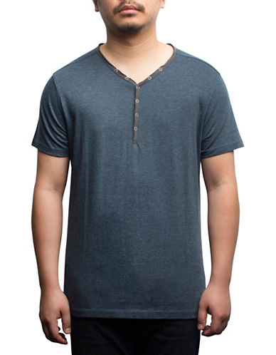 Rogue State Short Sleeve Henley-BLUE-Medium