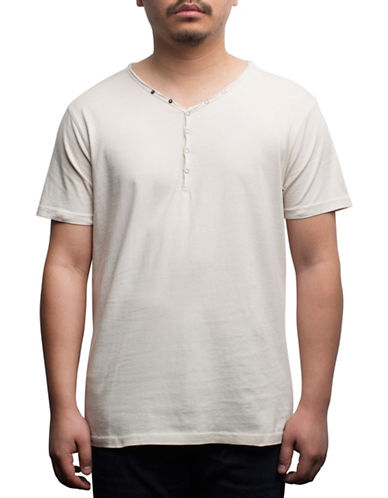 Rogue State Short Sleeve Henley-BEIGE-Large