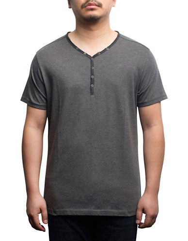 Rogue State Short Sleeve Henley-GREY-Large
