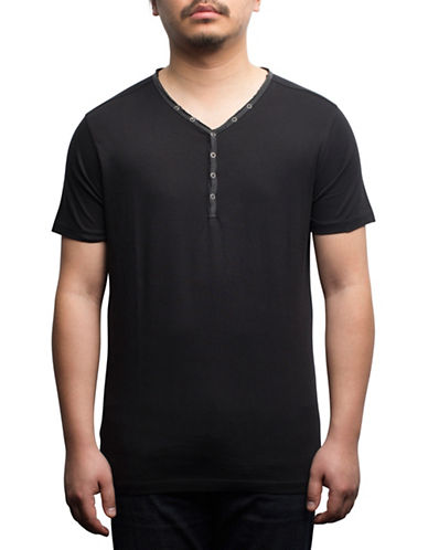 Rogue State Short Sleeve Henley-BLACK-Medium