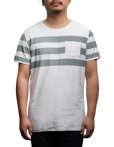 Rogue State Short Sleeve Striped T-Shirt-GREY-Large