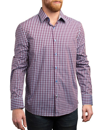 English Laundry Plaid Printed Regular Fit Sport Shirt-PURPLE-Large