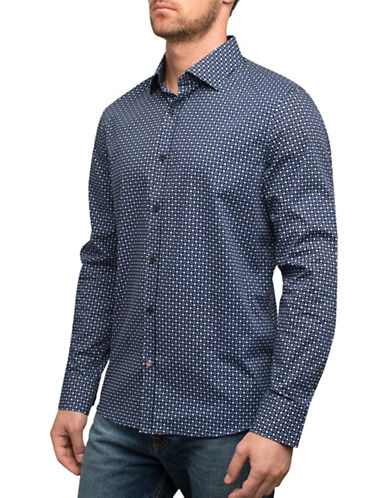 English Laundry Dot Print Sport Shirt-BLUE-XX-Large