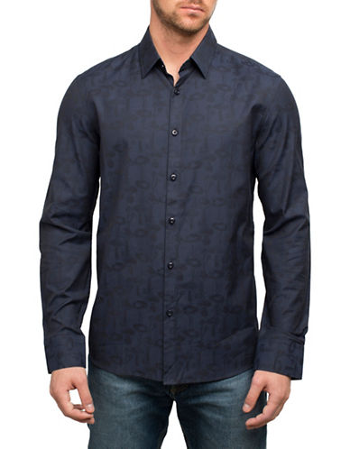 English Laundry Mushroom Print Cotton Sport Shirt-BLUE-Large