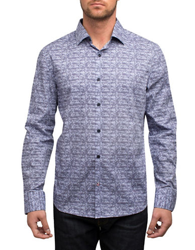English Laundry Faded Medallion Cotton Sport Shirt-BLUE-Small