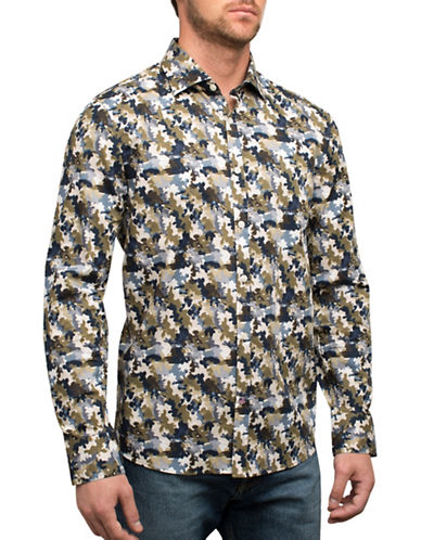 English Laundry Camo Print Sport Shirt-GREEN-Large