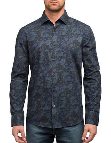 English Laundry Tonal Floral Sport Shirt-BLUE-Medium