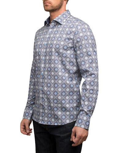 English Laundry Medallion Cotton Sport Shirt-WHITE-Small