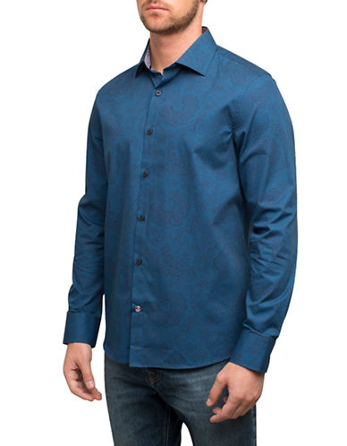 English Laundry Tonal Paisley Cotton  Sport Shirt-INDIGO-Small