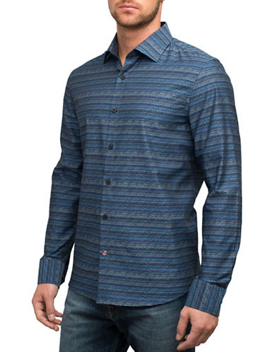 English Laundry Textured Stripe Sport Shirt-BLUE-X-Large