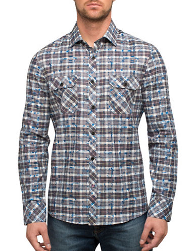 English Laundry Blotted Plaid Sport Shirt-MULTI-COLOURED-X-Large
