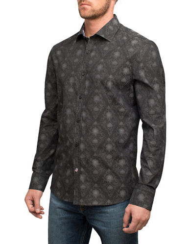 English Laundry Stamp Print Cotton Sport Shirt-BLACK-Small