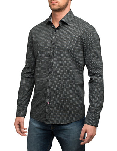 English Laundry Geometric Print Cotton Sport Shirt-BLACK-Small