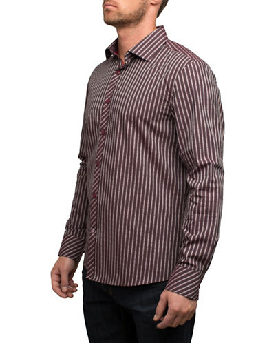 English Laundry Striped Cotton Sport Shirt-RED-Small