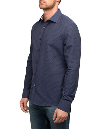 English Laundry Dot on Dot Cotton Sport Shirt-BLUE-Medium