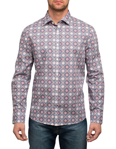 English Laundry Medallion Print Sport Shirt-RED-Small