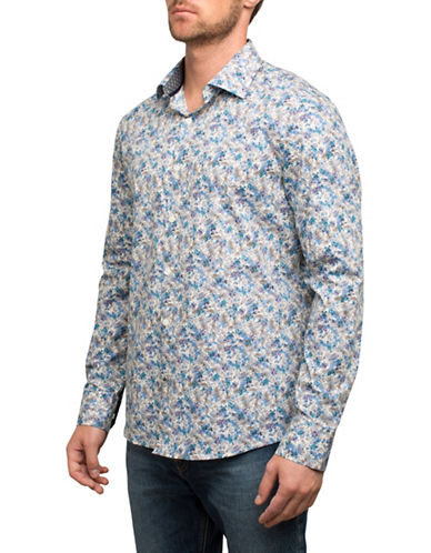 English Laundry Abstract Floral Cotton Sport Shirt-MULTI-COLOURED-Small
