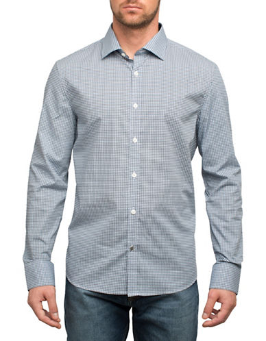 English Laundry Checked Cotton Sportshirt-BLUE-XX-Large