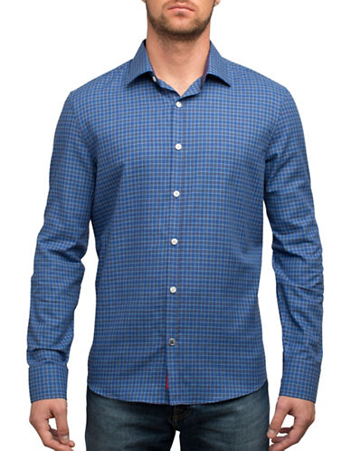 English Laundry Plaid Dress Shirt-BLUE-Large