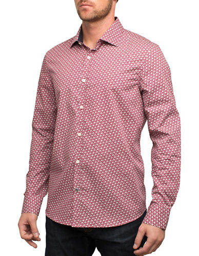 English Laundry Micro Floral Sport Shirt-RED-Small
