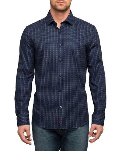 English Laundry Shadow Box Cotton Sport Shirt-BLUE-X-Large