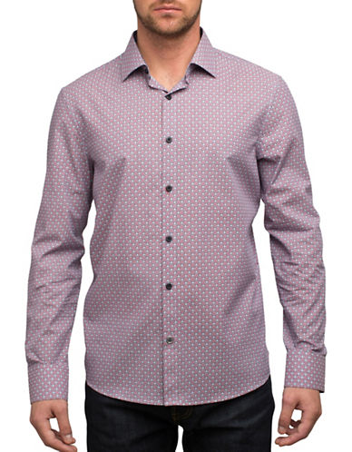 English Laundry Circle Print Sport Shirt-RED-XX-Large