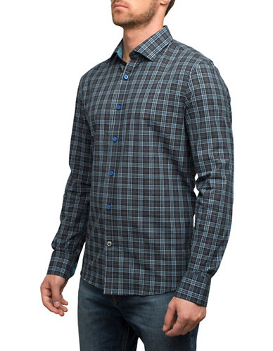 English Laundry Plaid Cotton Sportshirt-BLUE-Small