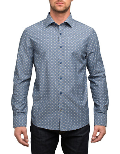 English Laundry Printed Cotton Sport Shirt-BLUE-X-Large