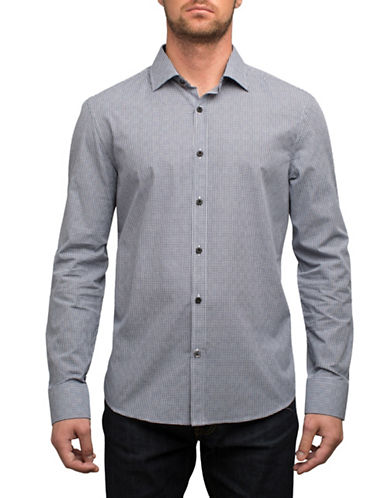 English Laundry Houndstooth Check Cotton Sport Shirt-BLACK-Small