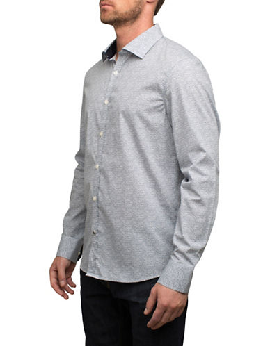 English Laundry Printed Cotton Sport Shirt-GREY-X-Large
