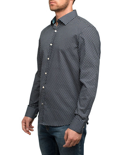 English Laundry Micro Sunburst Cotton Sport Shirt-BLACK-Large