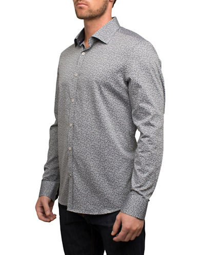 English Laundry Micro Floral Cotton Sport Shirt-GREY-Large