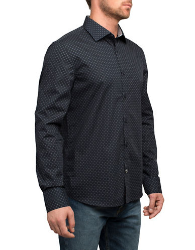 English Laundry Micro Dotted Cotton Sport Shirt-BLUE-Small